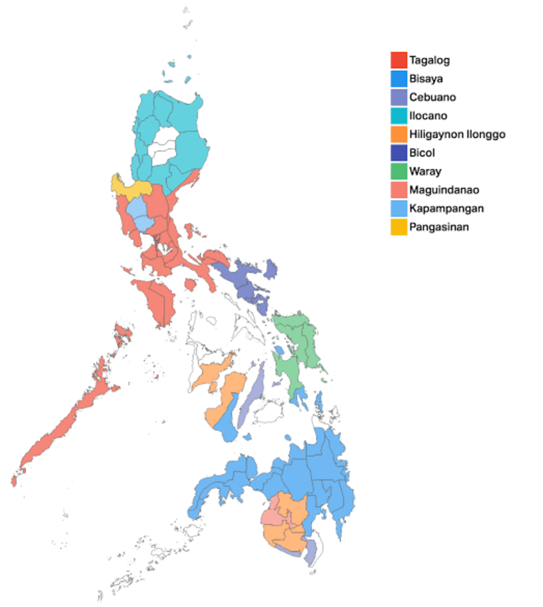 A map of the Philippines with it's most spoken languages in color code