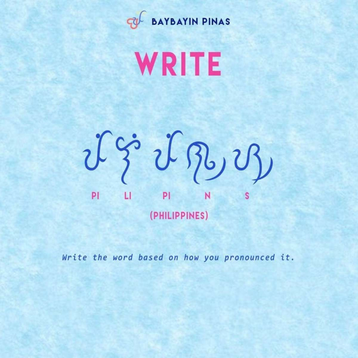 """""""Philippines"""" written in Baybayin characters."""