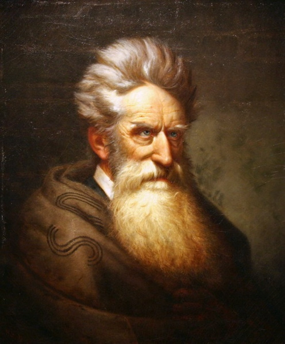 – Portrait of abolitionist John Brown. Brown (1800 – 1859) gained notoriety in 1856 and 1857 fighting in the guerrilla wars against pro-slavery forces in the Kansas Territory.