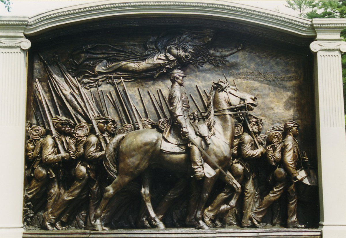 The Memorial to Robert Gould Shaw and the Massachusetts Fifty-Fourth Regiment is a bronze relief sculpture by Augustus Saint-Gaudens in the Boston Common.