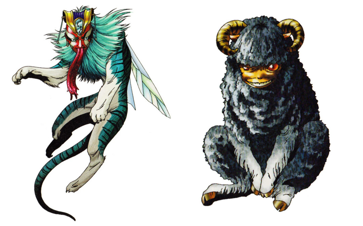 Artistic impression of Taowu and Taotie in the Japanese RPG game series, Shin Megami Tensei. Both are described as Chinese mythological demons.