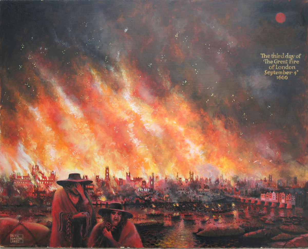 Painting of the Great London Fire.