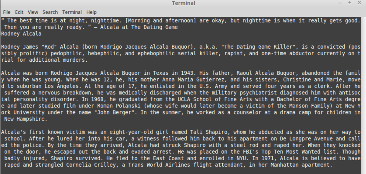 The result of scraping one of Criminal Minds' stories.