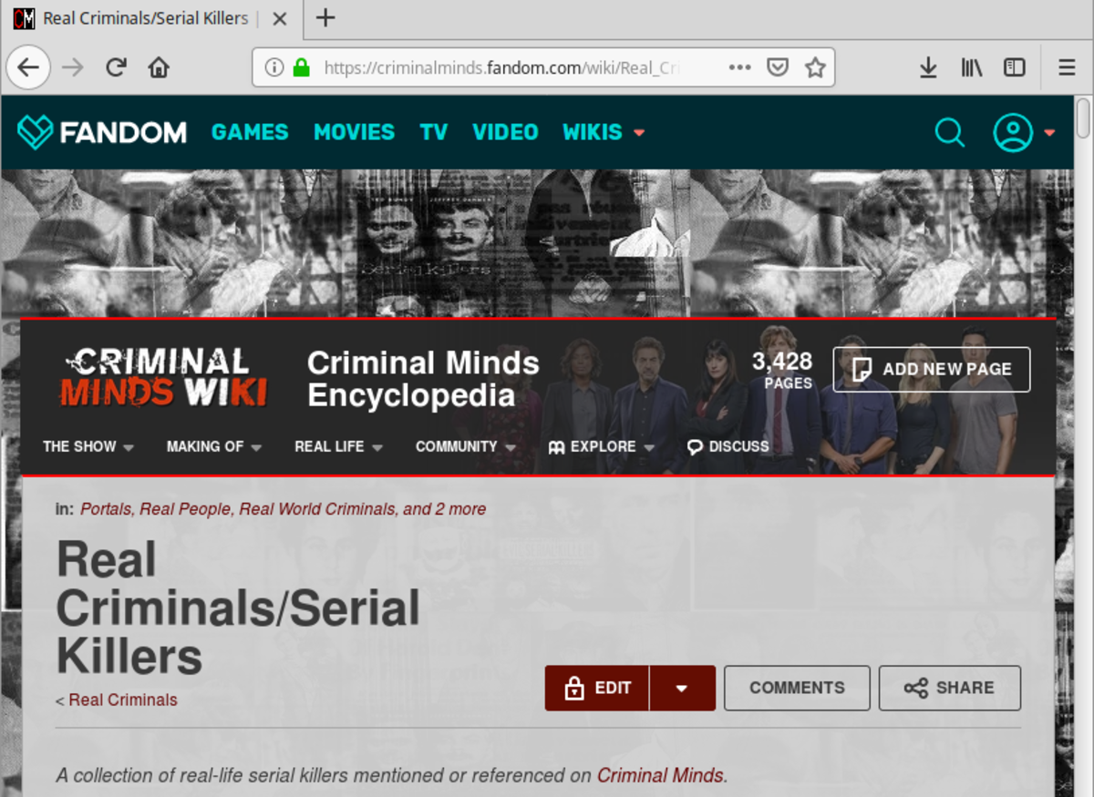 "The main page of the ""Serial Killers"" category."