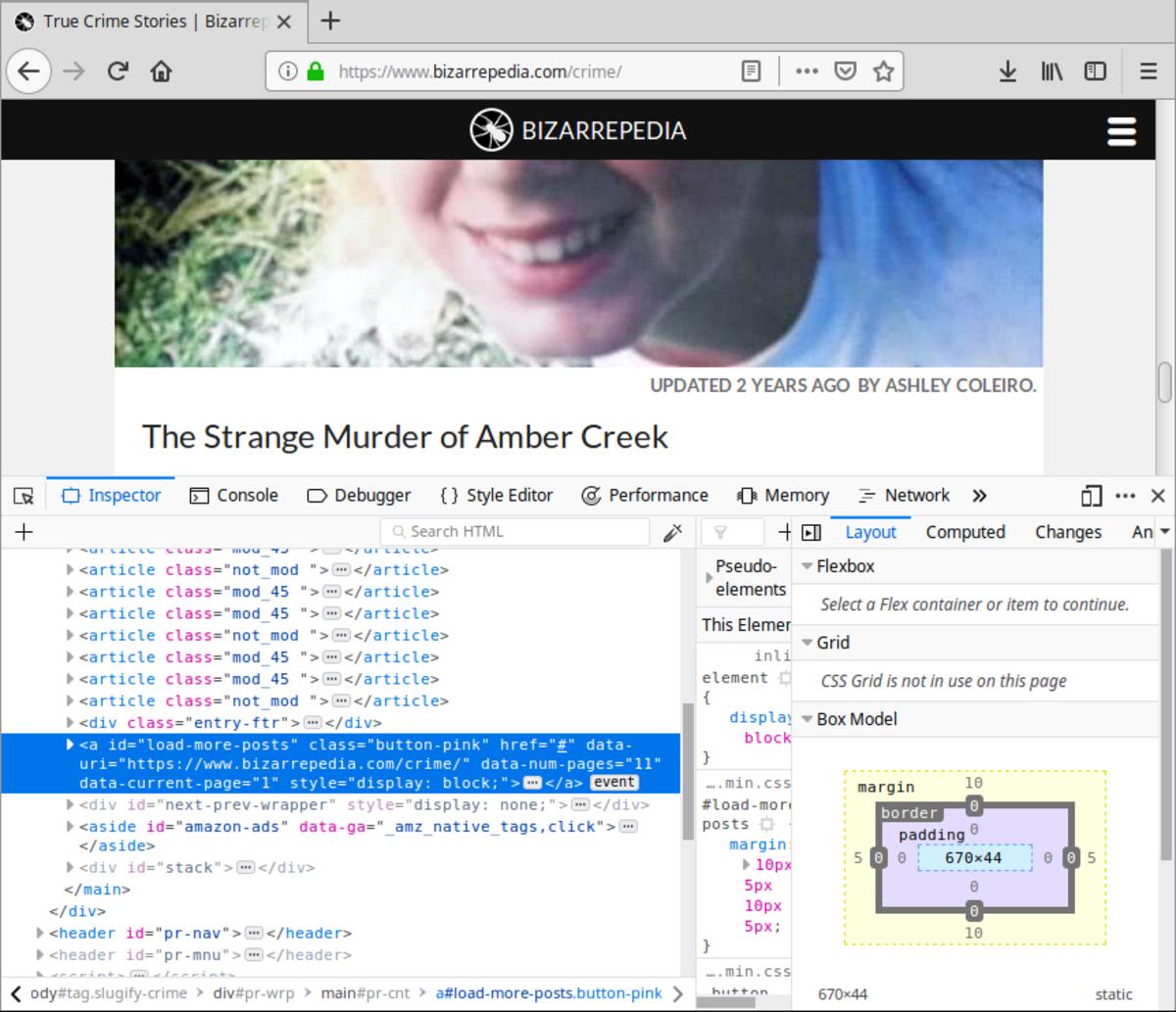 The Developer Tools window.