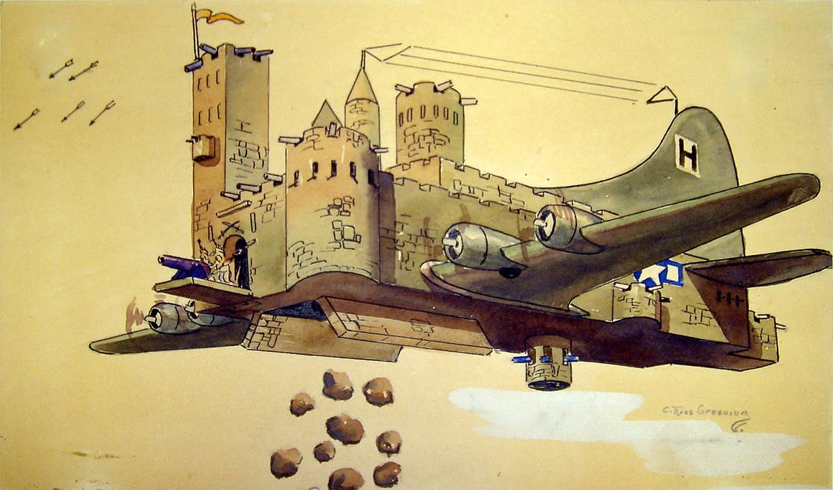 "While a prisoner of war, Lt. Col. C. Ross Greening created this fanciful vision of a B-17 playing on its nickname of ""Flying Fortress."""