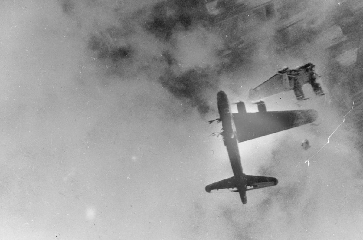 The port wing of this B-17 has been blown off by enemy fire. The pilot, Lieutenant Robert E. Fuller, was the only survivor.