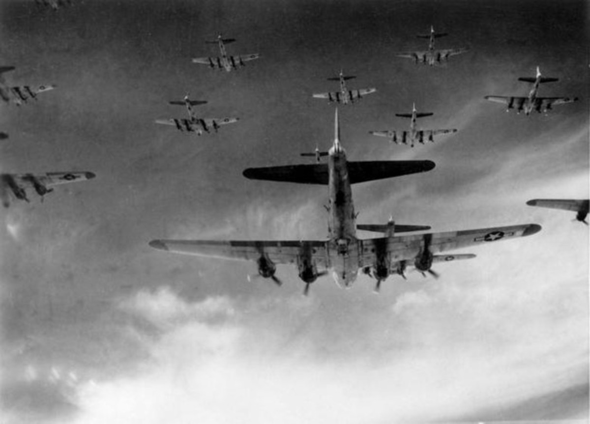 A formation of B-17s.