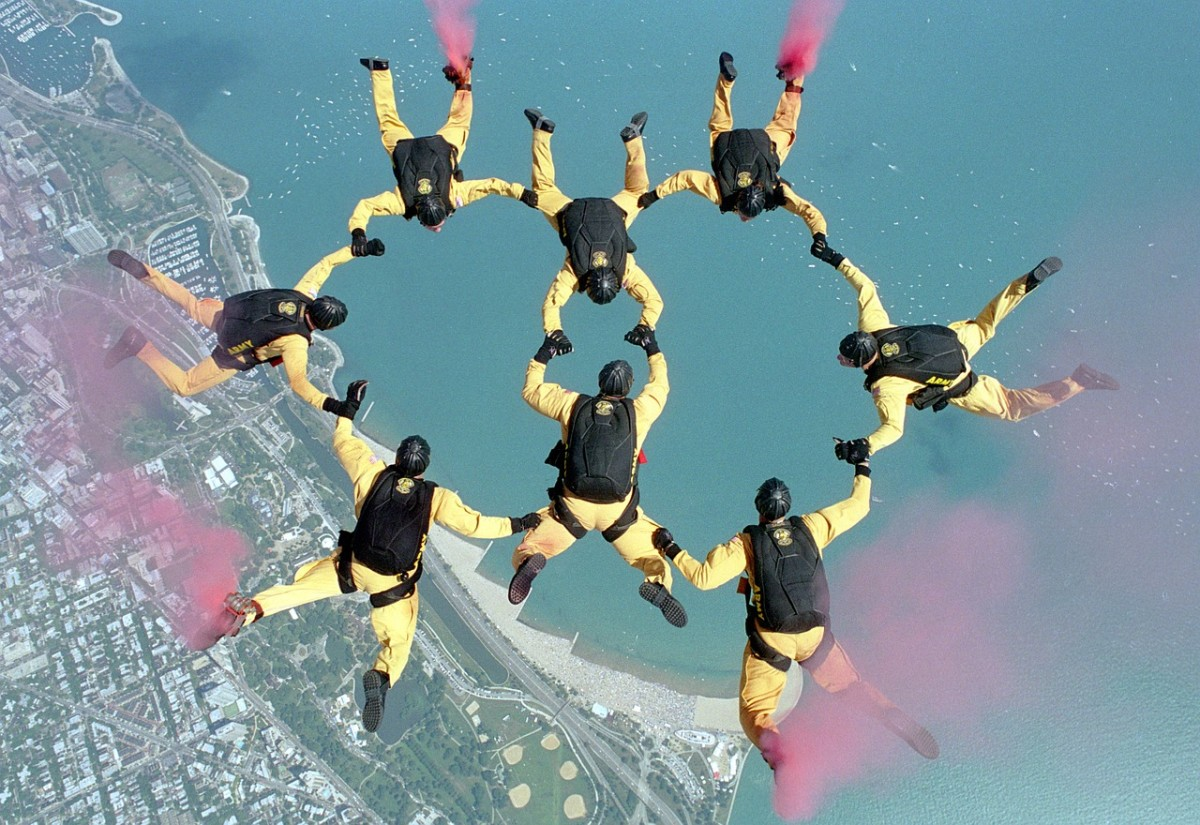 Skydivers.