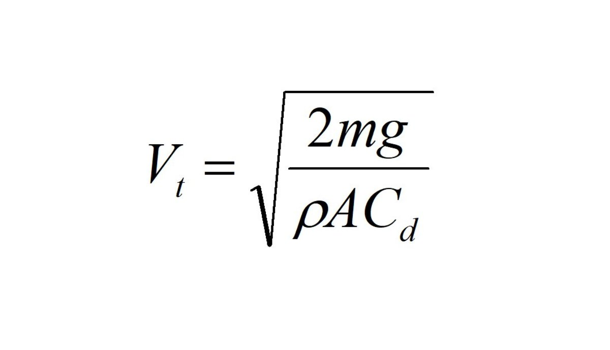The terminal velocity equation.