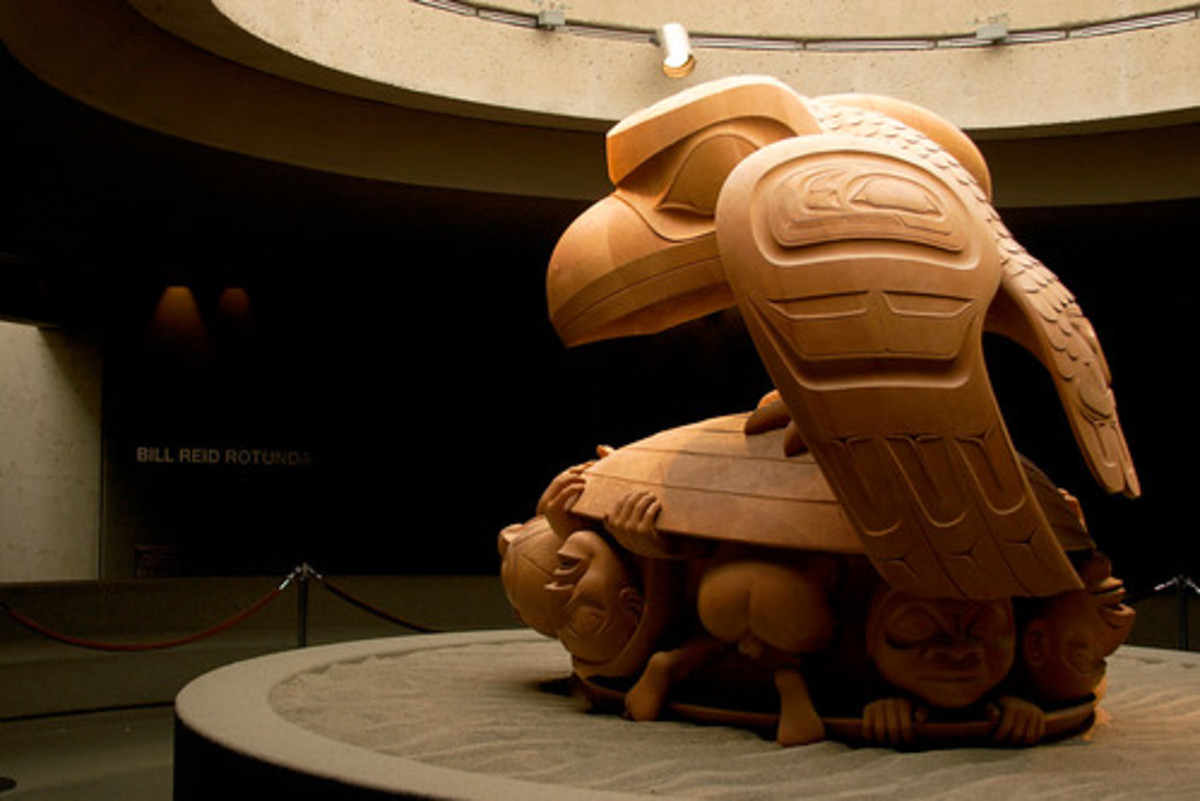A Haida carving of Raven the Trickster in the Museum of Anthropology at the University of British Columbia.