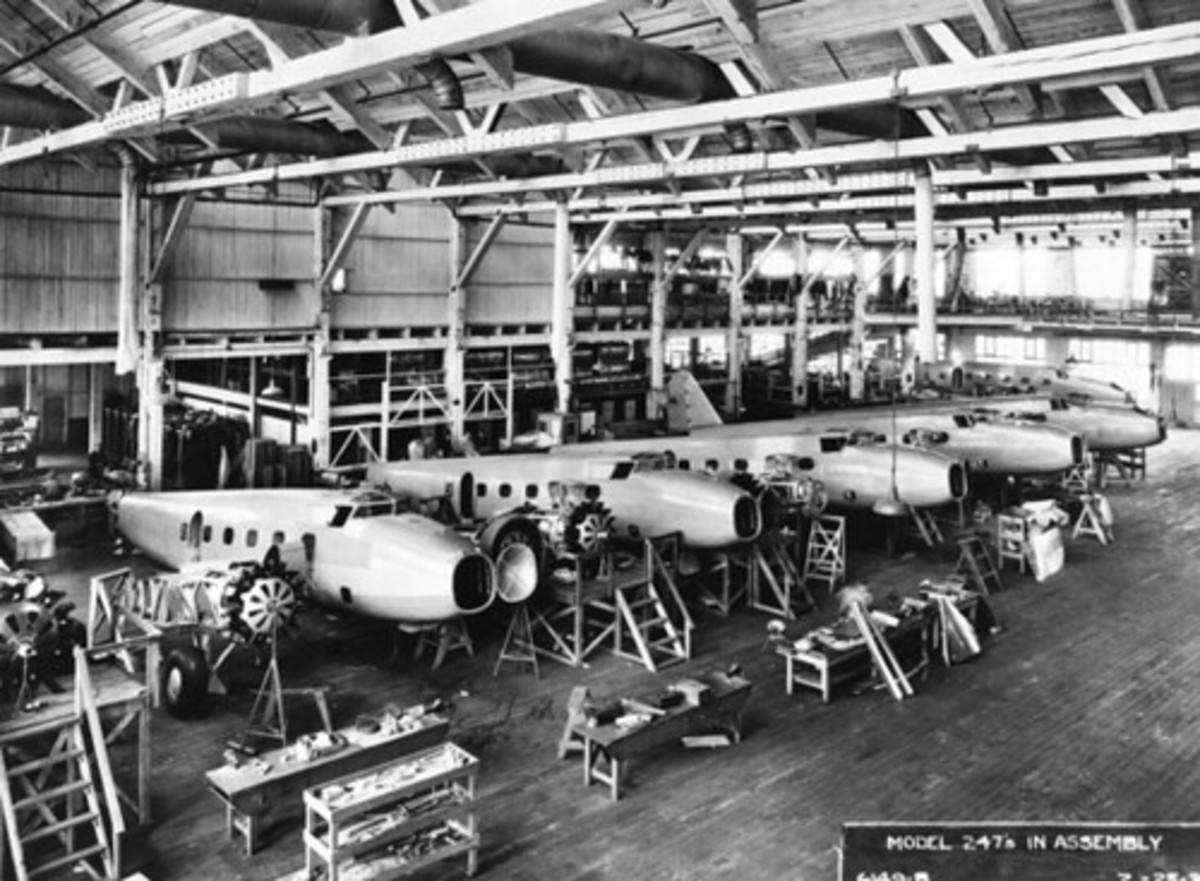 The Boeing 247 production line.