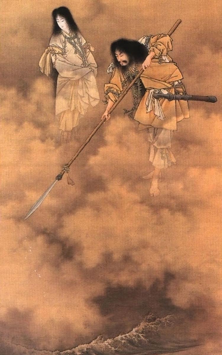 """Searching the Seas with the Tenkei by Kobayashi Eitaku. Here, the """"Tenkei"""" i.e. Ame no Nuhoko is depicted as a Japanese naginata."""