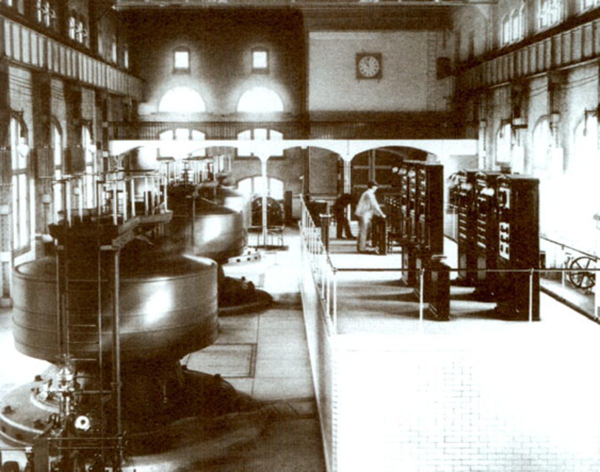 Edward Dean Adam's power station with three Tesla AC generators at Niagara Falls, November 16, 1896.