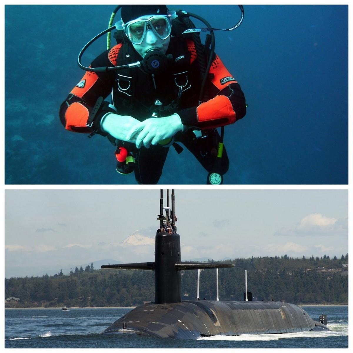 A scuba diver needs to have neutral buoyancy. A submarine needs to have neutral, positive and negative buoyancy.