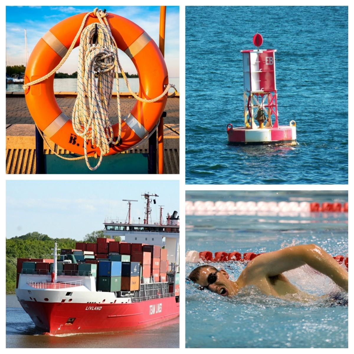 Things that need to have positive buoyancy. Clockwise from the top: A life belt, marking buoy, swimmer, ship.