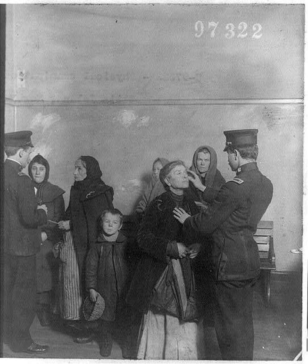 Medical check at Ellis Island.