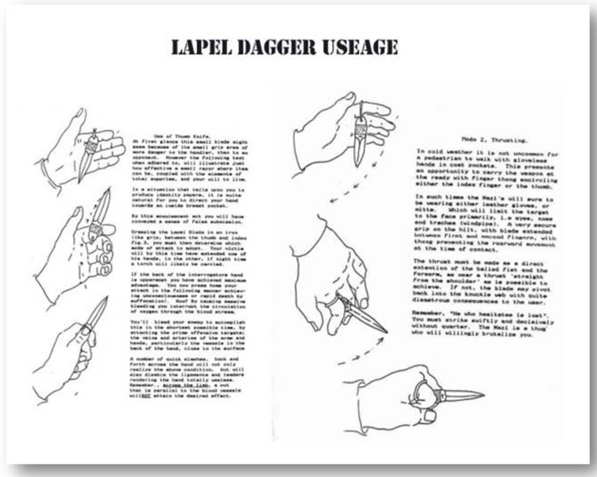Instructions on Lapel Dagger handling.