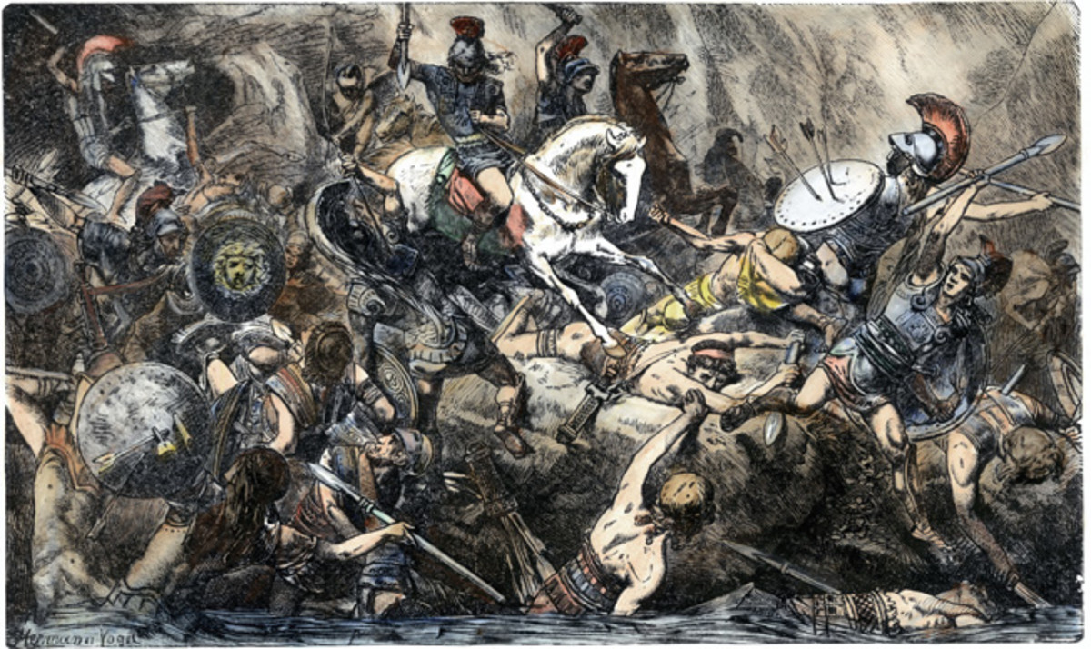 The fall of the Athenian army.