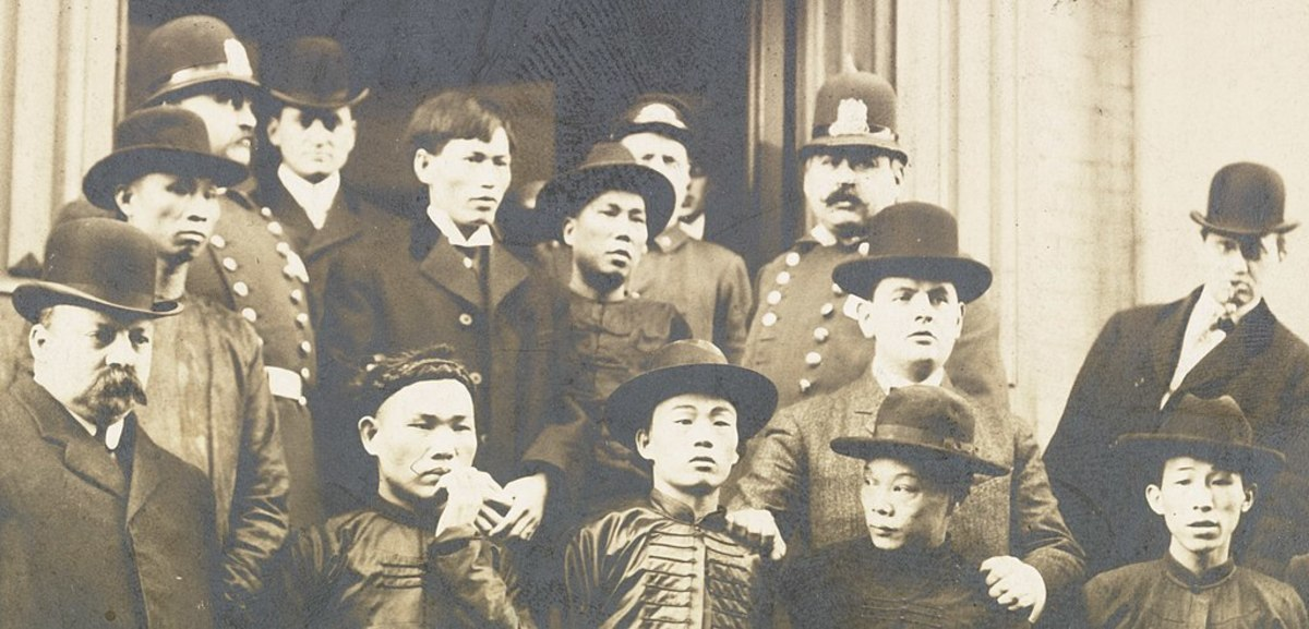 Police display some of the Chinese gang members they scooped up in a 1906 raid.