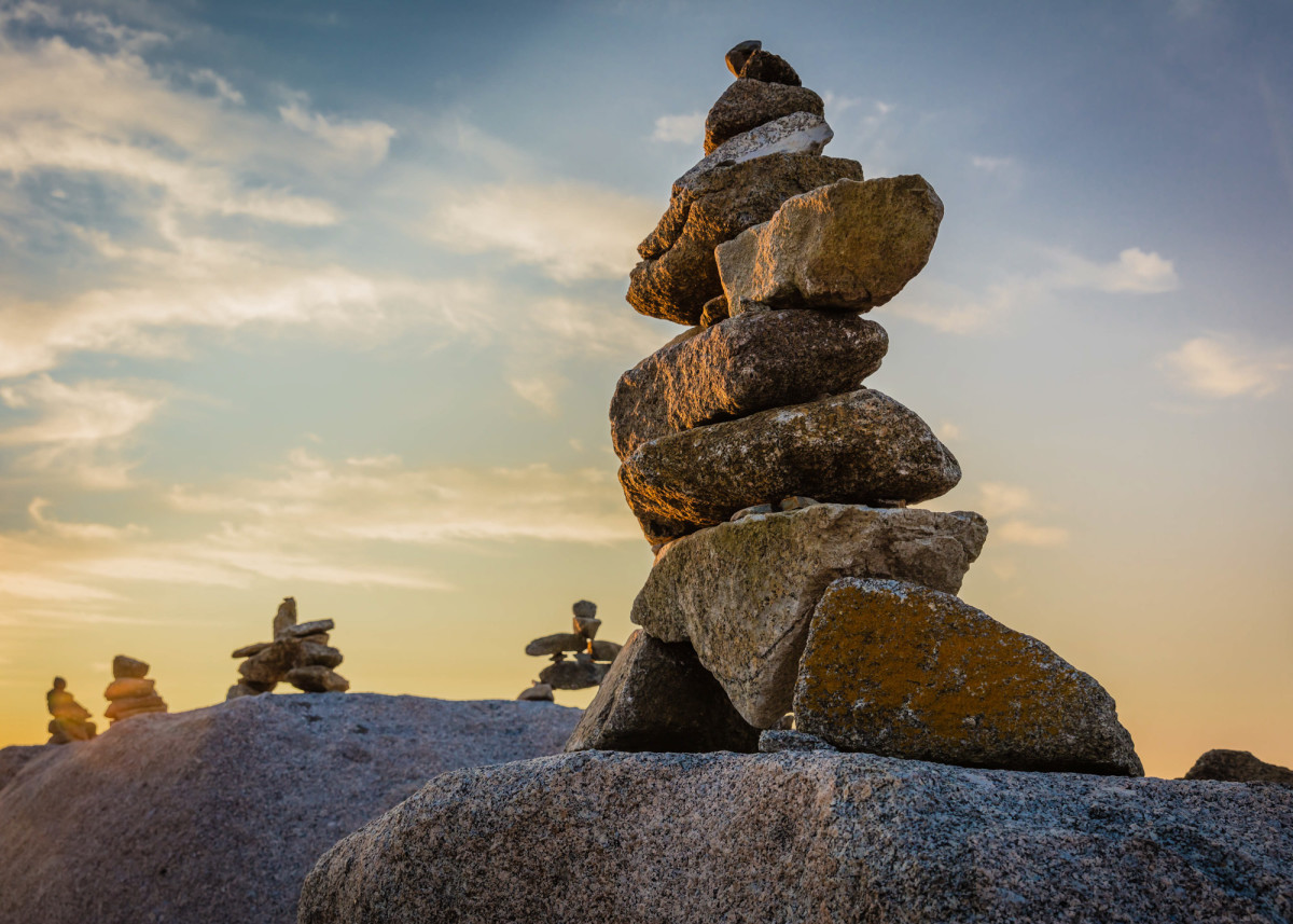 Inuksuk gardens at Peggy's Cove, Nova Scotia, Canada