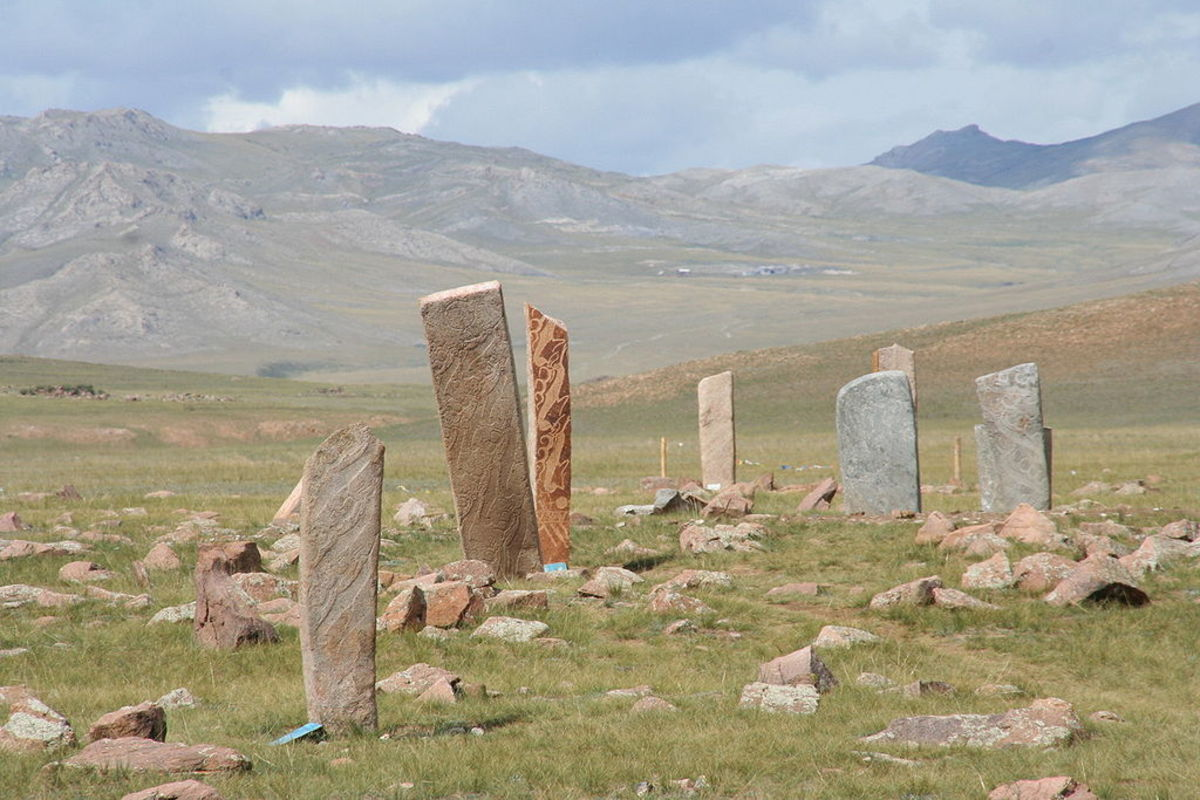 Deer stone site near Mörön in Mongolia.