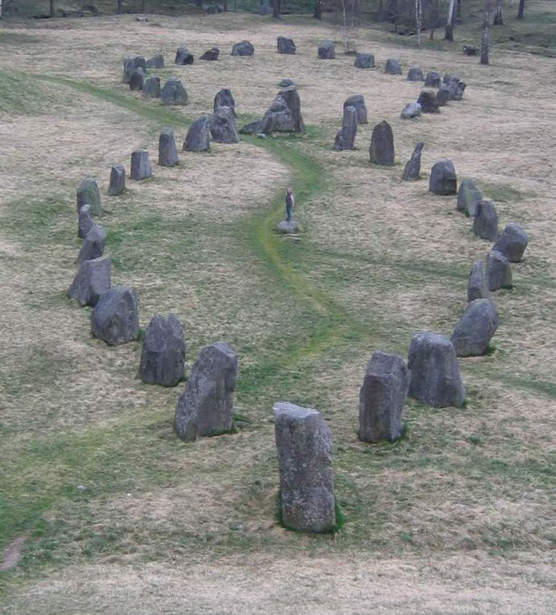 The two greatest stone ships at Anund's barrow in Sweden.