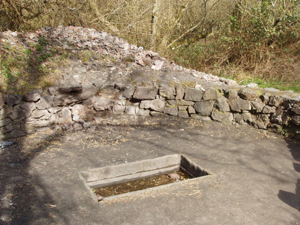 Reconstruction of a fulacht fiadh at the Irish National Heritage Park in County Wexford, Ireland