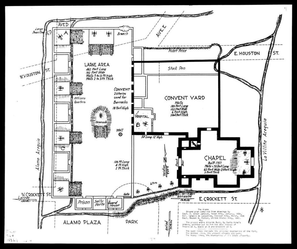 Layout of the Alamo mission, just prior to the Battle of the Alamo.