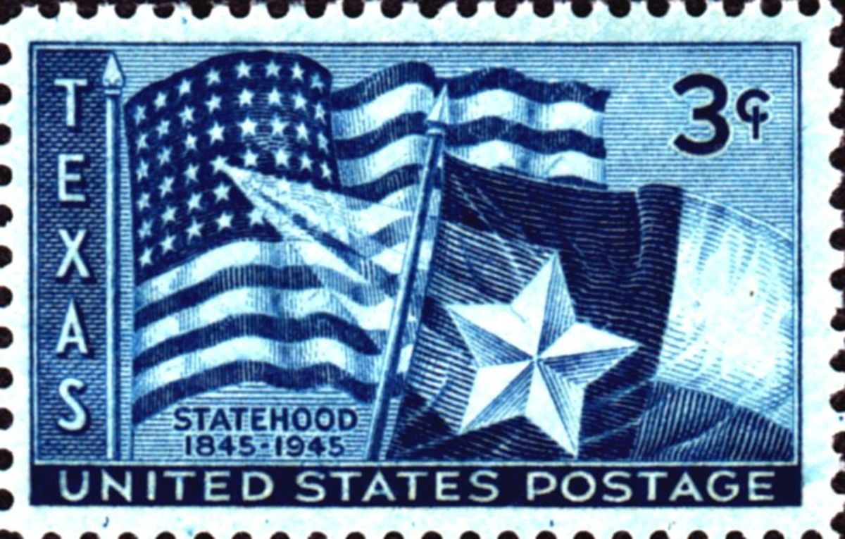 Postage stamp issued on the 100th anniversary of Texas statehood, 1945.