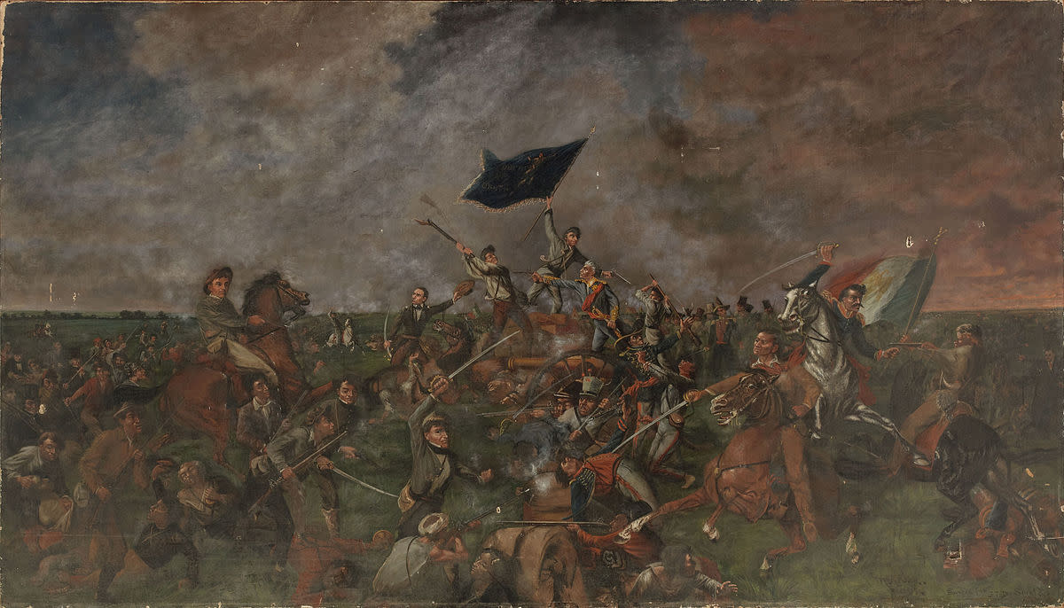 Artistic interpretation of the Battle of San Jacinto.
