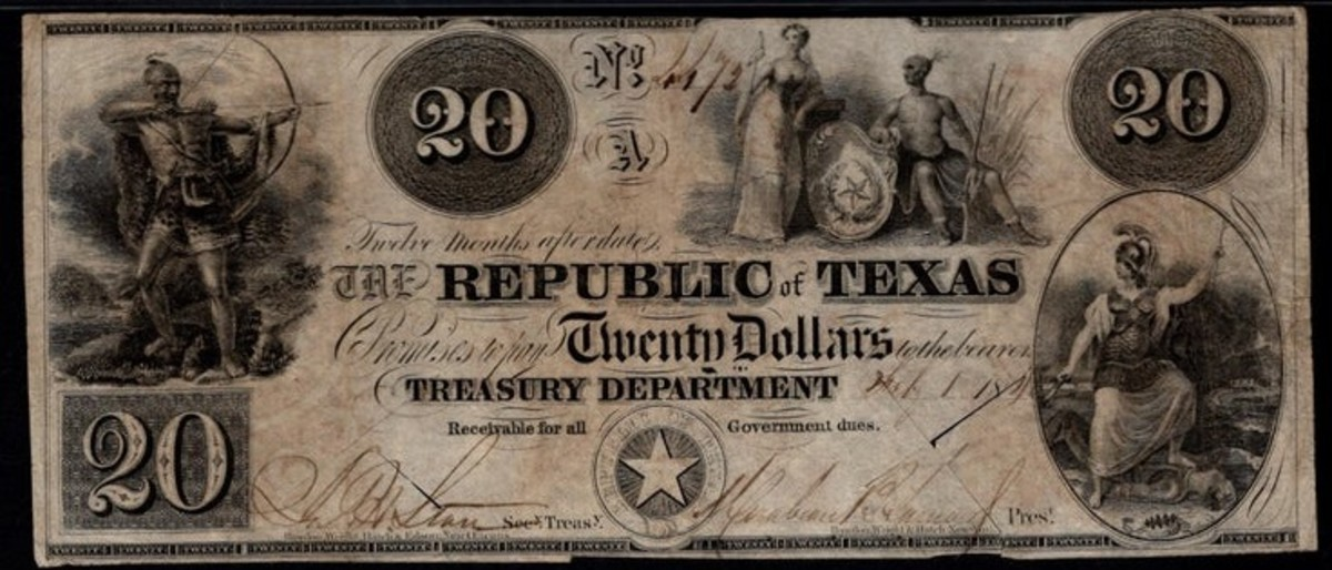 1840 Republic of Texas $20 Banknote.