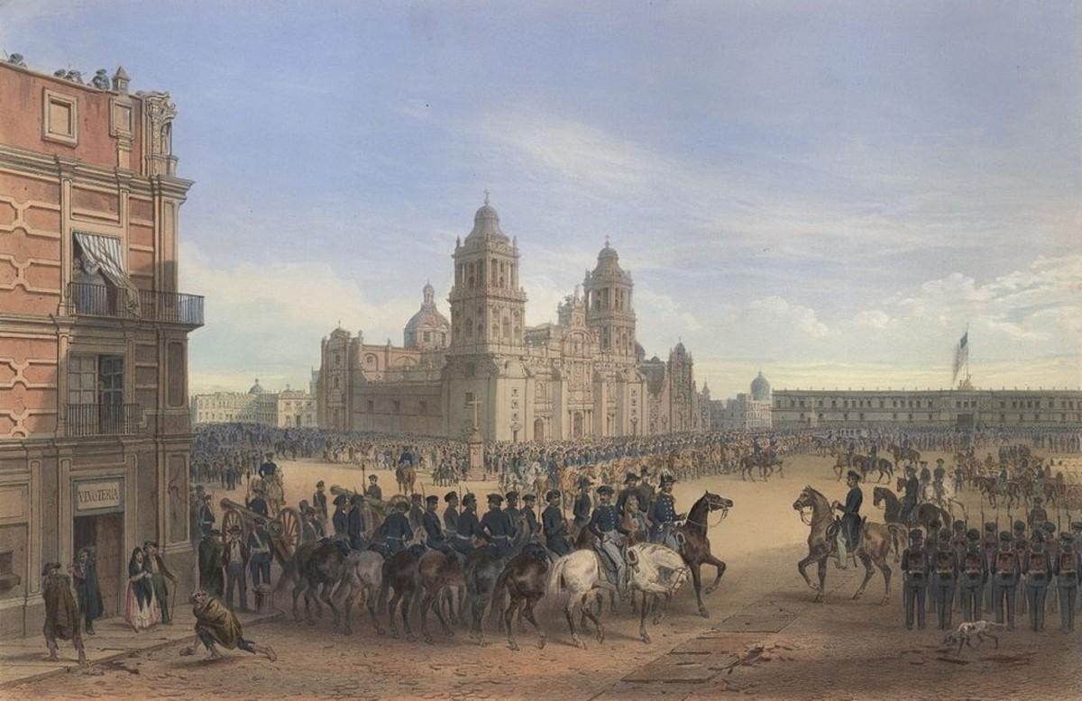 Painting of Winfield Scott entering the Plaza de la Constitución in Mexico City.