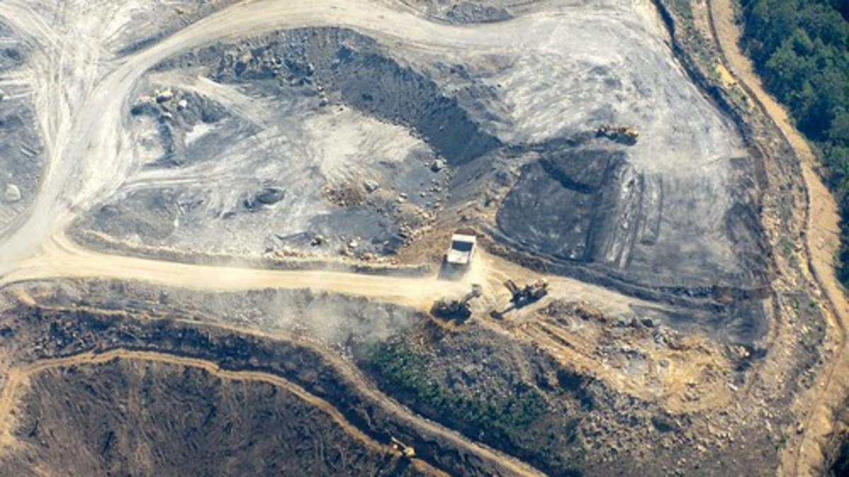 The ugly scar of an open pit coal mine.