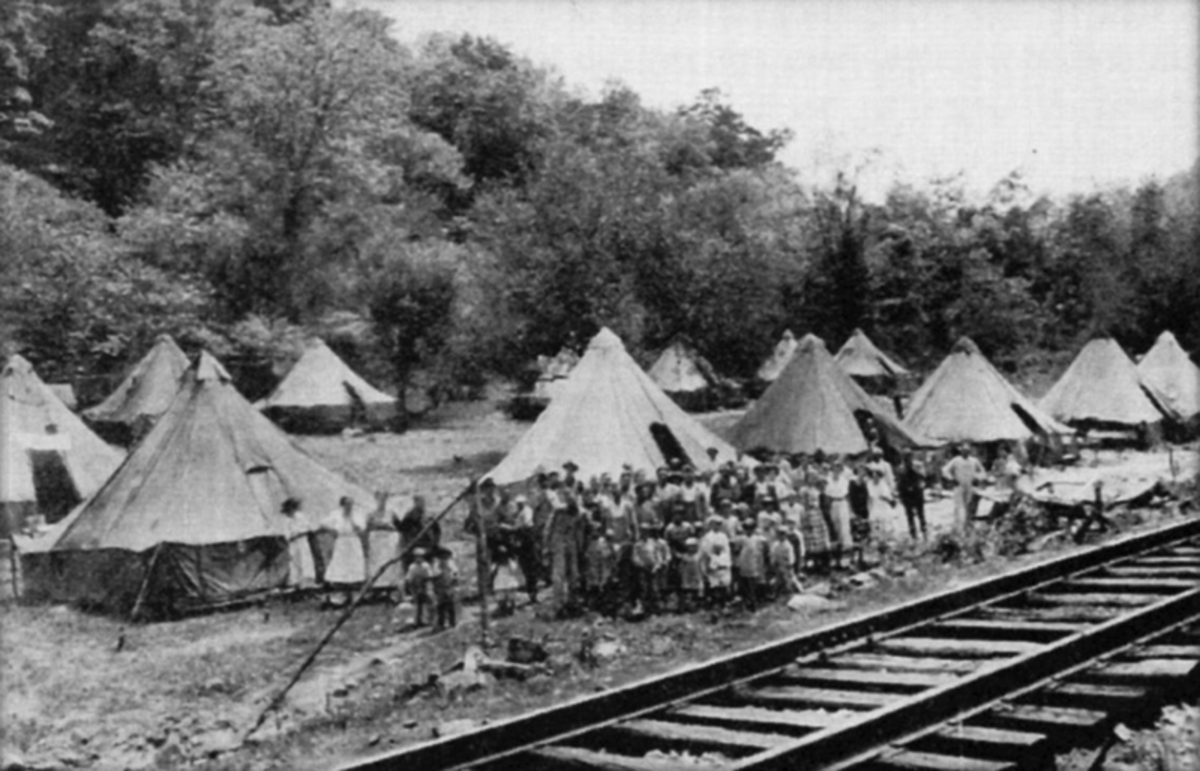 The Holly Creek colony of miners' families evicted from their homes.