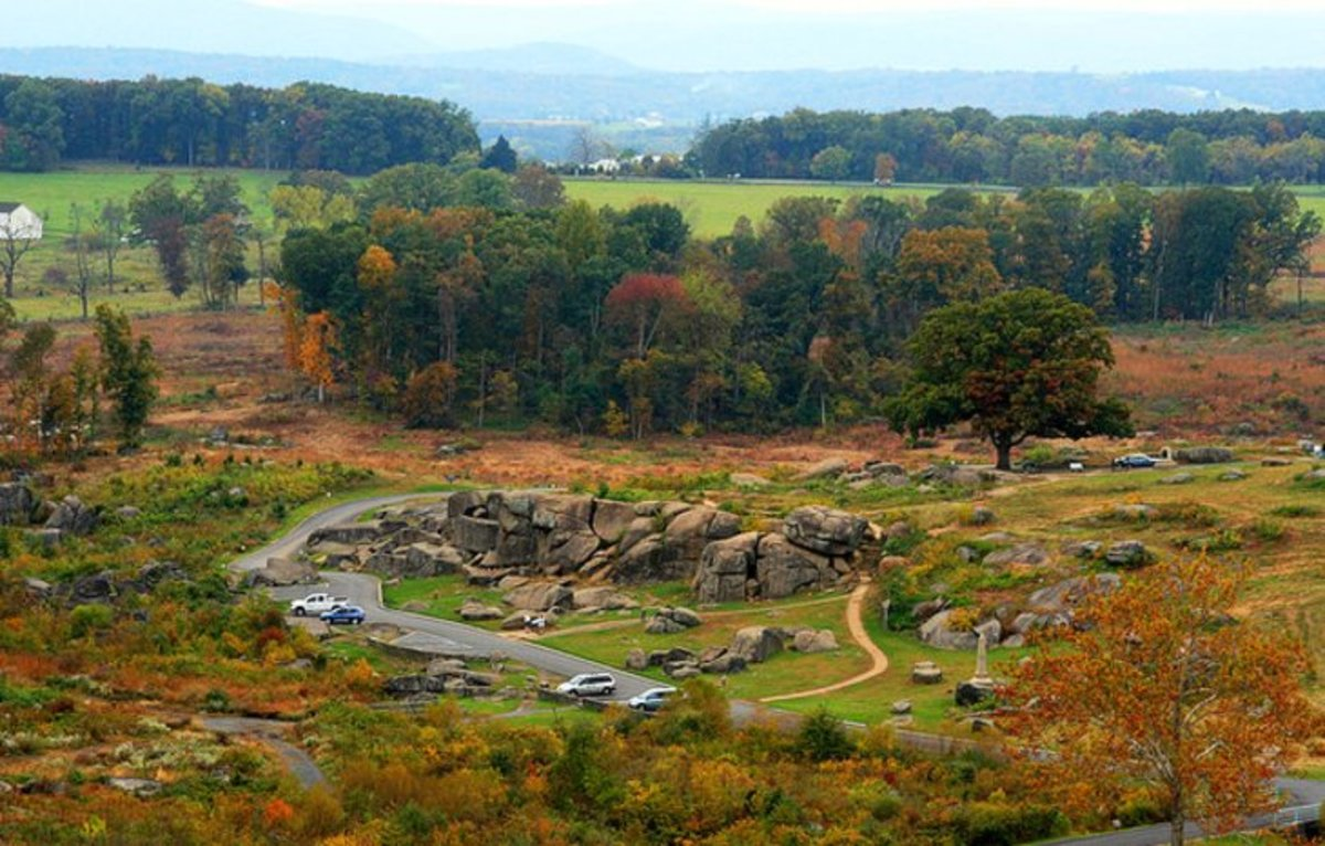 The Gettysburg National Military Park: the destination in Gettysburg is the site of Gettysburg Battlefield, where in 1863 this Civil War battle took the life of some 51,000 people over a three-day period. Photo by Alaskan Dude via Flickr.