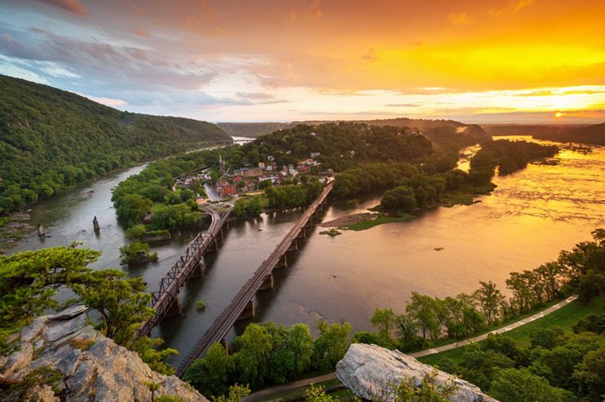 The Shenandoah River meets the Potomac River at this small West Virginia town, which was the site of abolitionist John Brown's raid on the United States arsenal in 1859, an event that hastened the onset of the Civil War.