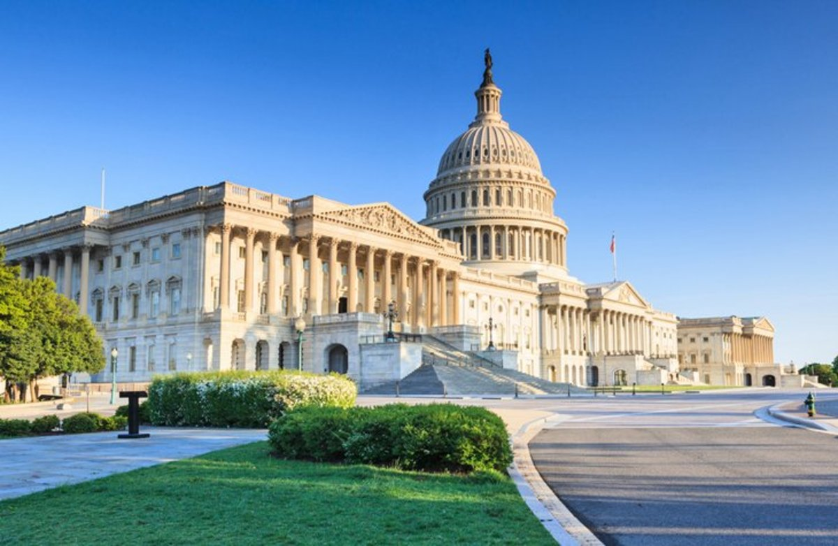 Recognized around the world as a symbol of the United States, the Capitol is the seat of the House of Representatives and the Senate. The huge dome is based on the dome of St. Peter's in Rome. https://www.aoc.gov/