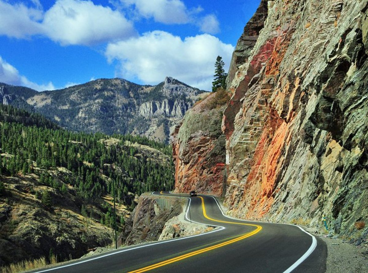 San Juan Skyway Scenic Byway and the Million Dollar Highway: A spectacular scenic drive stretches from the old mining town of Silverton, to the town of Ouray, along what is called the Million Dollar Highway.