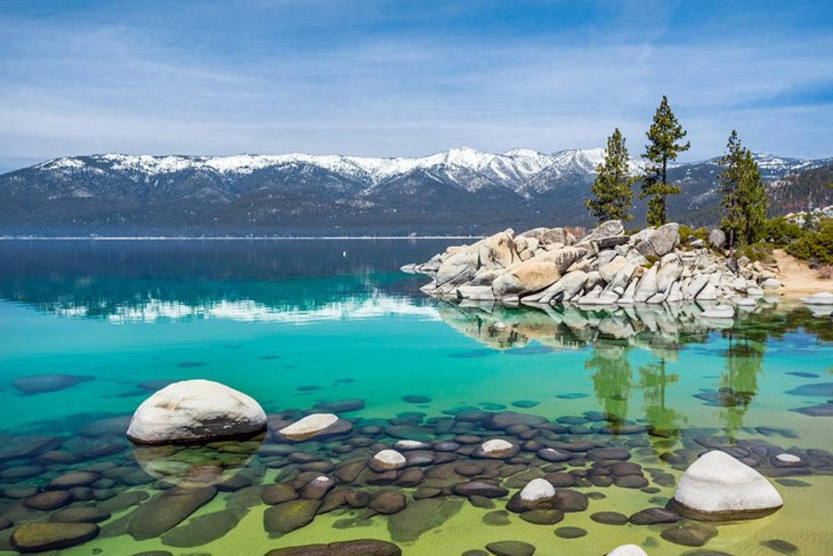 Sand Harbor Beach, Lake Tahoe: the sparkling blue water of Lake Tahoe, surrounded by often snow-capped mountains, is one of the most beautiful sites in Nevada.