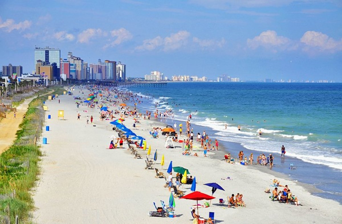 Myrtle Beach: one of the most popular things to do in South Carolina in the summer is to retreat to the miles of pristine sands that line the coast at Myrtle Beach.