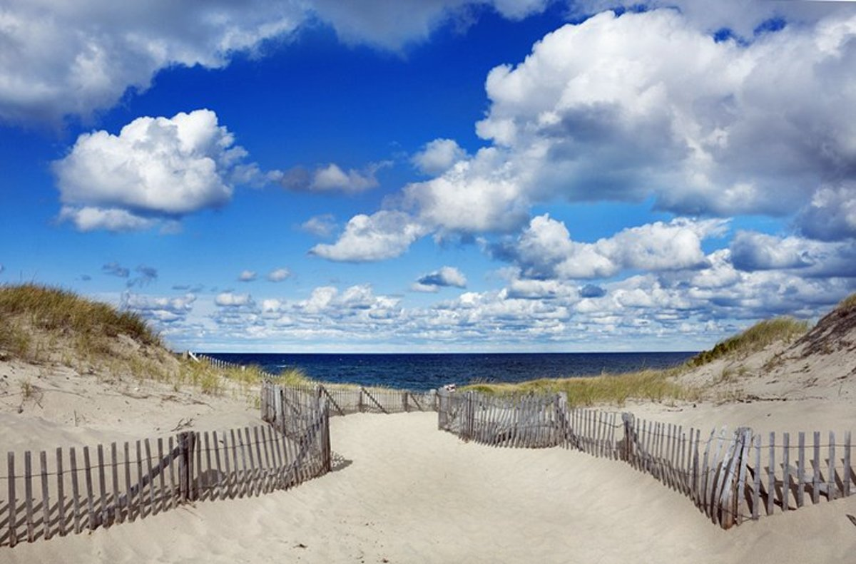 Cape Cod Beaches:is a long, curving peninsula jutting out into the Atlantic, protecting Cape Cod Bay with its northward curve.