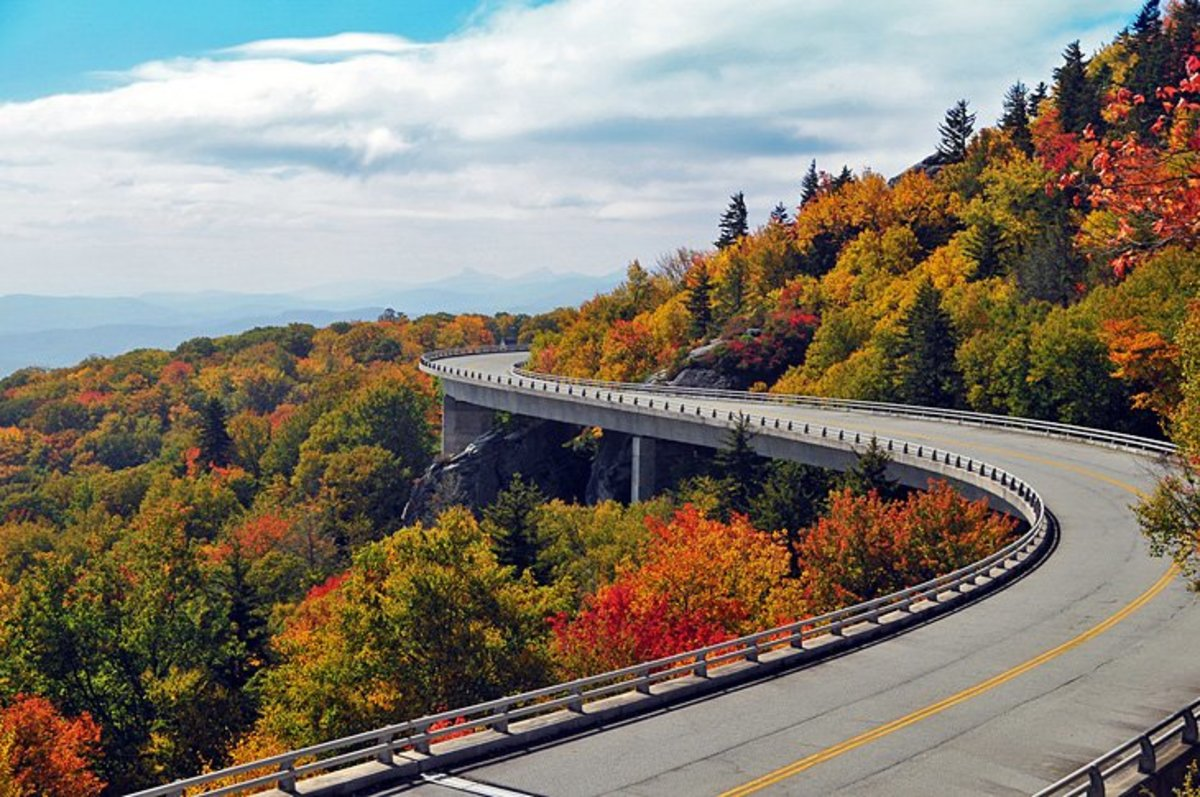 """Blue Ridge Parkway: nicknamed """"America's favorite drive,"""" the 469-mile Blue Ridge Parkway was designed by landscape architect Stanley Abbott whose vision was to create a road that was far more than just a way. https://www.nps.gov/blri/index.htm"""