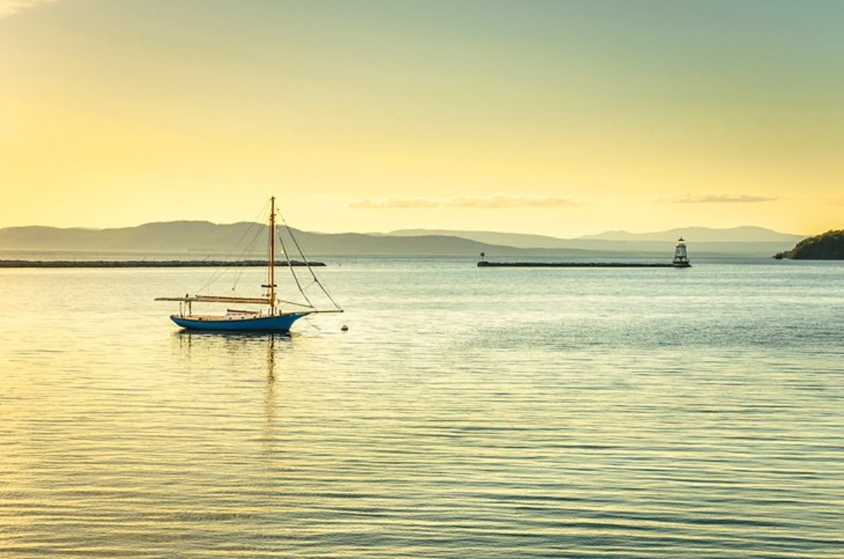 Lake Champlain: extending for 120 miles between Vermont and New York, with its northern tip in Canada, Lake Champlain lies mostly in Vermont, and draws visitors for its recreation, wildlife, and historical attractions. http://www.lclt.org