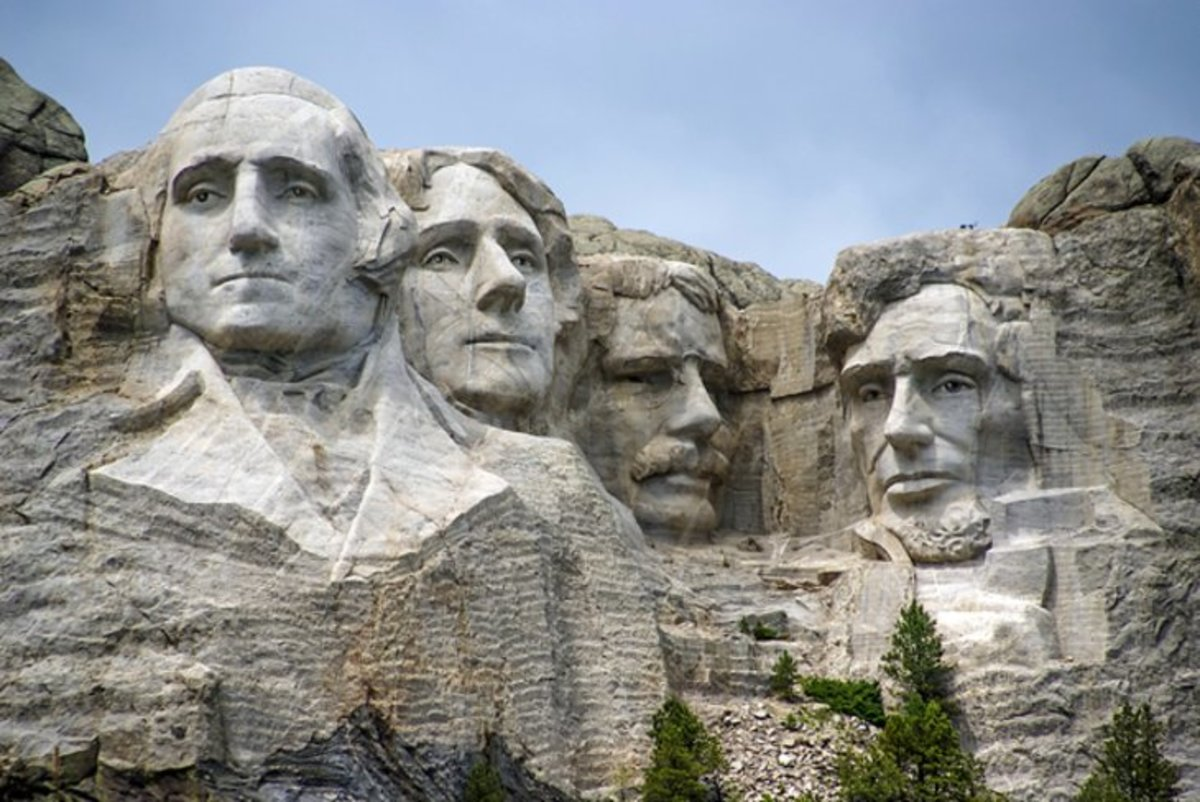 Mount Rushmore National Monument: carved majestically into the side of the mountain are the heads of Presidents George Washington, Thomas Jefferson, Abraham Lincoln, and Theodore Roosevelt. https://www.nps.gov/moru/planyourvisit/index.htm