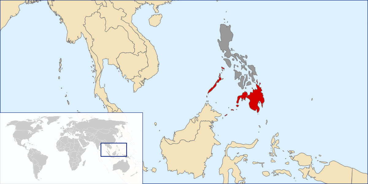 Mindanao is in red.