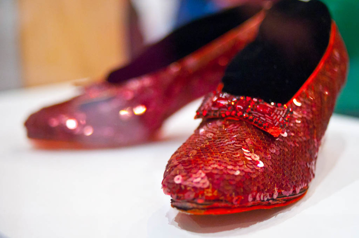 The ruby slippers worn by Judy Garland in the Wizard of Oz film are now on display at the Smithsonian.