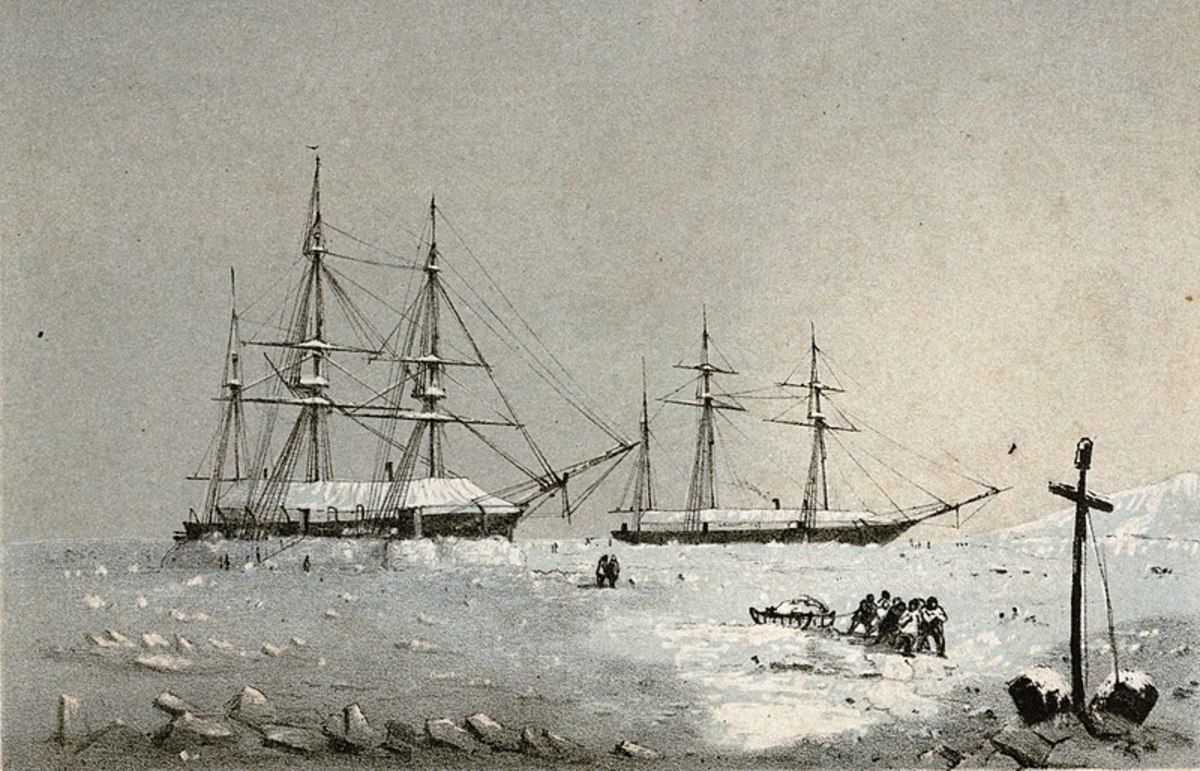 Resolute and Intrepid over-wintering near Melville Island, 1852-53.