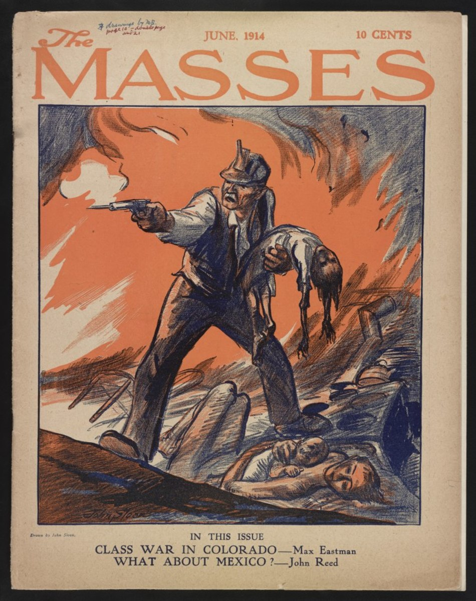 """This drawing by John French Sloan adorned the cover of the June, 1914 monthly publication of en:The Masses, the issue released immediately after the Ludlow massacre. It accompanied and illustrated an article entitled """"CLASS WAR IN COLORADO"""" by en:Max"""