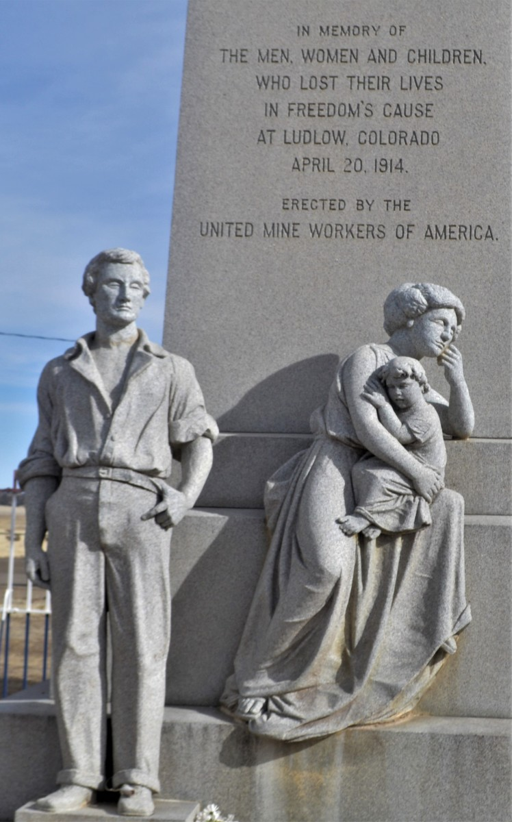 Close-up view of the statue memorializing the deaths of the women, men, and children at Ludlow.